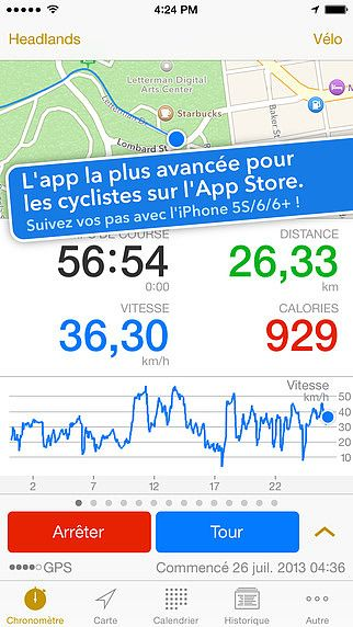 Cyclemeter compteur à vélo GPS pour le vélo de course et VTT pour mac