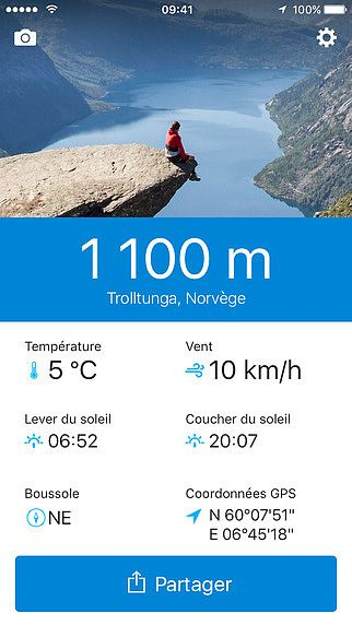 Runtastic Altimeter : GPS, altitude, boussole, météo  pour mac