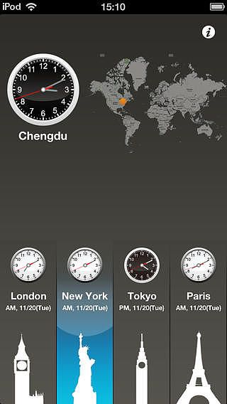 World Clock HD for time lag, travel, world time pour mac