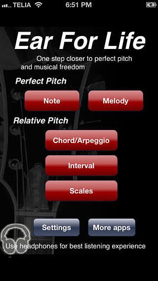 Ear For Life, perfect pitch, interval and chord ear training pour mac