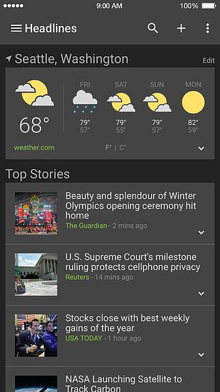 Google Actualités et météo pour mac